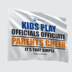 Kids Play, Officials Officiate, Parents Cheer Flag